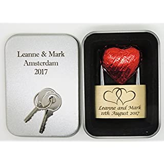 40mm - Personalised Engraved Padlock - Large Linked Hearts - Chocolate - Bold Contrasting Text of Your Choice - Engraved Metal Gift Box (LLHrts + Eng Box)