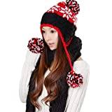 Eeayyygch Sciarpa Donna Cappelli da Donna Autunno e Inverno Caldo Giallo Kits Fashion Casual, Rosa Red
