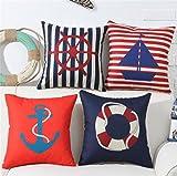 JIAJU& Set of 4 Square 18X18inch Nautical Style Anchor Sailor Sailing Cushion Cover Sofa Decor Throw Pillow Cushion Case