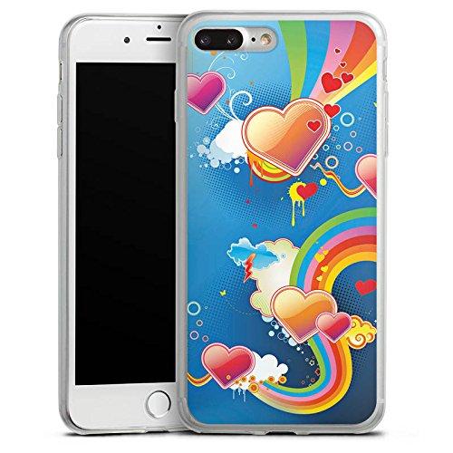 Apple iPhone 8 Slim Case Silikon Hülle Schutzhülle Herz Love Regenbogen Bunt Silikon Slim Case transparent