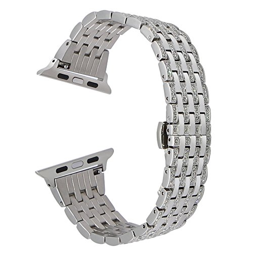 Für Apple Uhrenarmband, TRUMiRR Kristall Strass Diamant Uhrenarmband Dame Luxus Edelstahl Handgelenk Armband für iWatch 38mm 42mm Serie 1 & 2, Series 3