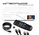 Dreambox DM900 UHD 4K E2 Linux Receiver mit 1x DVB-S2 FBC Twin Tuner (inkl. gratis Kabelset: 1x HDMI Kabel + 2x 1,5m SAT Anschlusskabel) weiß