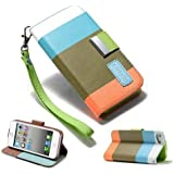 DNG Apple iPhone 5 5S Leather Flip Designer Stripe Wallet Case Cover Pouch Table Talk New Khaki