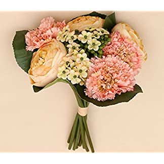 Ramo Flores Novia Regalo para Novios Flores Artificiales Camelia, Clavel, Hortensia – Blanco