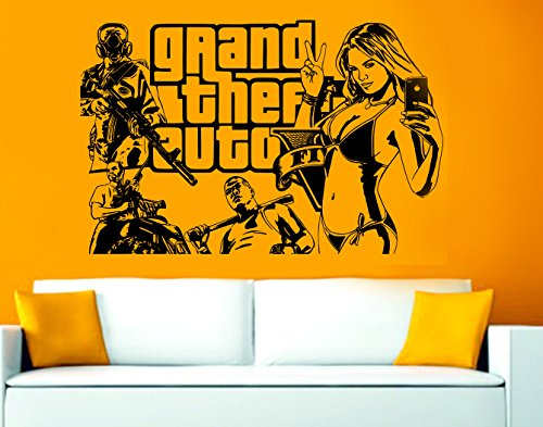 Grand Theft Auto 5Art Wand Aufkleber Aufkleber Vinyl Kids, Vinyl, Silber, 90 x 58