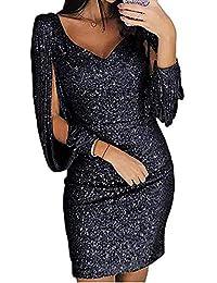 Kenoce Damen Partykleid Glänzend Abendkleider Elegante Festliches Kleid  Fransen Langarm V-Ausschnitt Sexy Cocktailkleid für… c8f05ddb1b