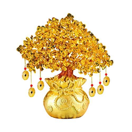Imikeya ornamenti per alberi di soldi di albero fortunato di cristallo da 19 cm ornamenti di ricchezza in stile bonsai di fortuna feng shui per ufficio negozio di casa