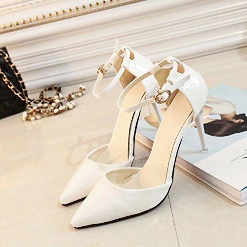 COOLCEPT Femmes Elegant Pointue Mince Talon hauts Sandales Cheville Chaussures Blanc