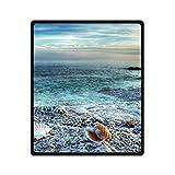 Best JJ Cole Picnic Blankets - DOUBEE Custom Soft Warm Blue Seashells 100% Fleece Review