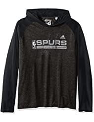"San Antonio Spurs Adidas NBA ""Fast Break"" Men's Climalite Hooded L/S Shirt Chemise"