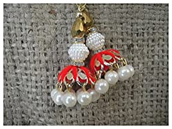 Set of 2, Gold pearl red woolen thread latkan tassle for blouse kurti
