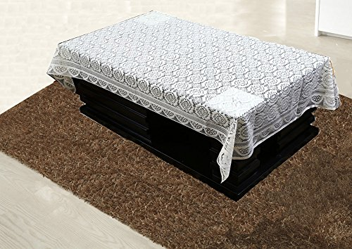 Kuber Industries Cotton 4 Seater Centre Table Cover - White