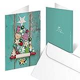 10 Stück Weihnachtskarten GRÜN bunter WEIHNACHTS-BAUM rot natur weihnachtliche Klappkarten MIT KUVERT hochwertig Holz-Optik Grußkarte Doppelkarte Christbaum