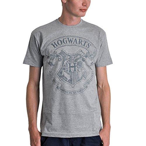 Harry Potter camiseta Hogwarts logotipo emblema gris manchado - M