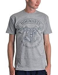 T-shirt Harry Potter logo armoiries Poudlard couleur poivre et sel