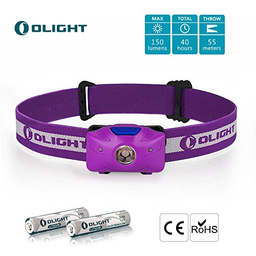 Olight® H05 ACTIVE Lampe Frontale LED avec 2 Piles Lithium Iron 1.5V, 150 lumens, Eclairage Vélo/ Lampe de Pêche, Angle Réglable, Indicateur LED Rouge, Lentille TIR- Violet