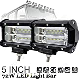 Pair of LED Work Lights / LED Light Bars - Spot Wide Beam 5 Inch 72W Super Bright White Driving Working Lamp for Tractor / Pickup Truck / Wagon Cab / ATV / SUV / Truck / Boat / Bus / 4WD 4X4