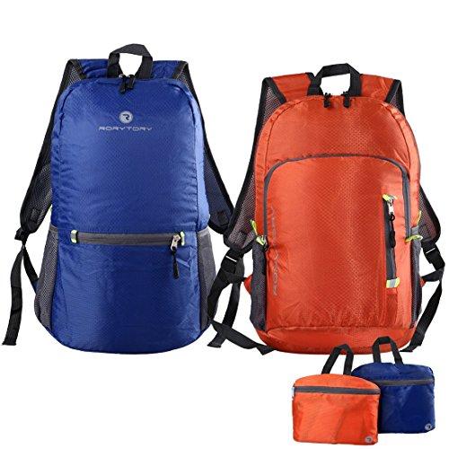 RoryTory 2-teilig Einfarbig Ultraleicht Wasserfest Wanderrucksack Kombo Blau & Orange