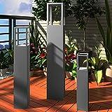 vidaXL Windlicht Säulen Set 3 tlg antik grau Lackierung