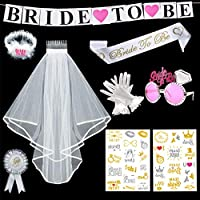 Nouvelle Bride To Be Blanc Jarretière écharpe Voile Insigne Rosette Bachelorette Party Set 4Pcs