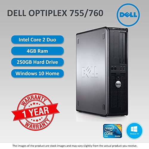 Dell Optiplex 755/760 Core 2 Duo 2.4GHZ - 2.8GHZ 4GB RAM 250GB HDD DVD WIN 10 Home 64Bit sold and warranted by Easy buy (CRS-UK) Registered Trade Mark No.UK00003100631 4 Gb Duo