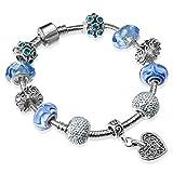 A TE Charms Armband Blau Kristall Muranoglas Herz Charm Damen Geschenk #JW-B33