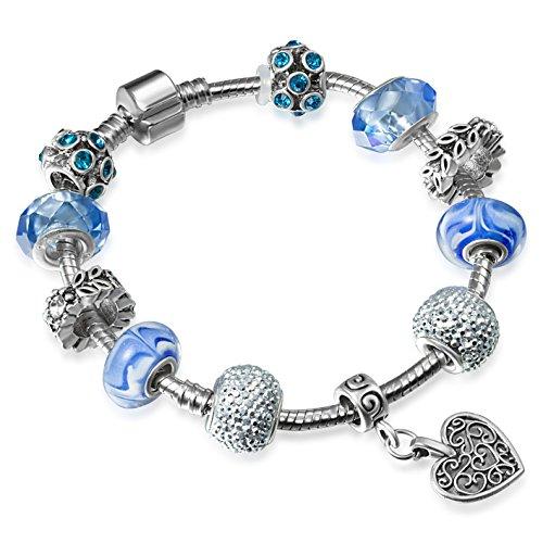 A-TE-Armband-Charms-Blau-Kristall-Muranoglas-Herz-Anhnger-Damen-Geschenk-JW-B33