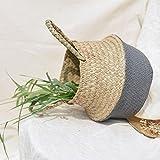 Yuyoug Blumenkorb, Hängekorb, aus Seegras, Weidenkorb, Aufbewahrung, faltbar, Dekoration, grau, Large