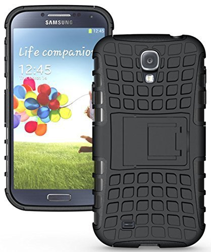 Qzey Kick Stand Hard Dual Rugged Armor Hybrid Bumper Back Case Cover for Samsung Galaxy S4 - Black  available at amazon for Rs.185