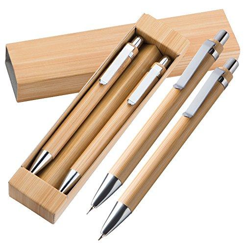 creativgravur® Holz-Bambus Schreibset Port-au-Prince - wahlweise mit oder ohne Lasergravur, Mit oder ohne Gravur:mit Gravur