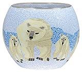 Windlicht Glas Cup Teelichthalter Kerzenhalter EISBÄREN Größe 9 x 11 cm als Tischdekoration …