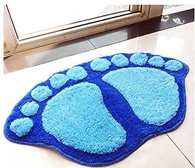 Fendii Lovely Foot-shaped Nonslip Plush Bath Rug Bedroom Carpet Doormat Floor Mat Blue