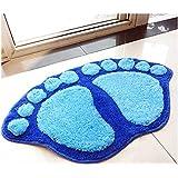 Ppower Alfombra de forma de pie, antideslizante peluche alfombra dormitorio Felpudo Alfombra de baño (Azul)