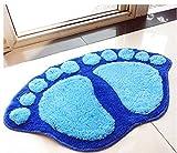 Fendii Plüsch-Badezimmerteppich / Fußmatte, rutschfest, Fuß-Form, blau