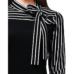 ❤️ Blusa de Mujer Empalmado a Rayas,Camisa de Manga Larga a Rayas con Cuello Alto y Lazo de Mujer Absolute