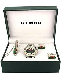 Boxx Wales Welsh Flag CYMRU Metal Bracelet Watch Blue Cufflinks Mens Gift Set