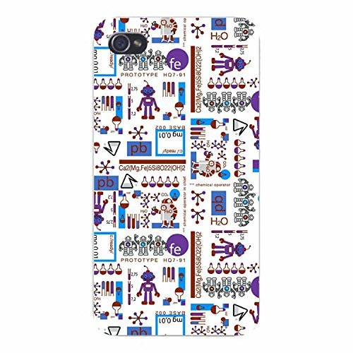 Apple Iphone Custom Case 5 / 5s White Plastic Snap on - Chemistry Science Nerd Geek Symbols & Equations w/ Little Robots