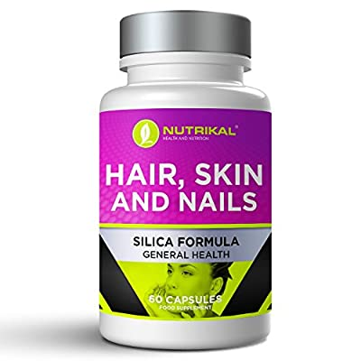 Hair Skin and Nails Support Supplement by Nutrikal - Premium Formula with Silica, MSM, Marine Collagen, Marine Chondroitin, Ascorbic Acid - 60 Capsules