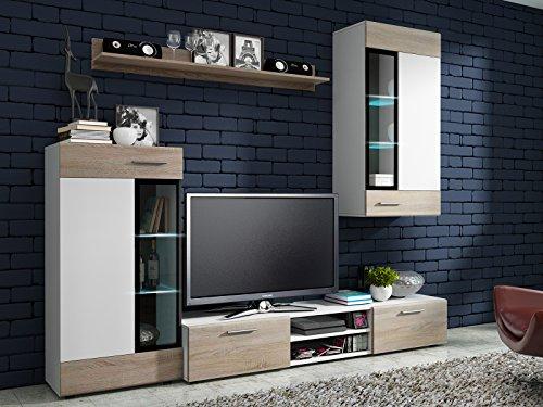 Wohnwand Wohnzimmer Set weiß natur Möbel Schrank Lowboard Regal Vitrine NEU KALUGA