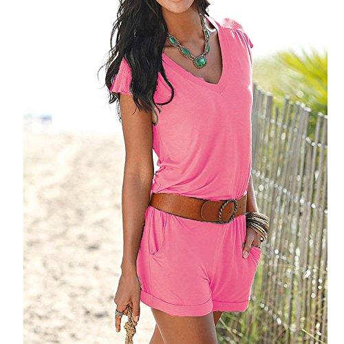 Minetom Femme Combishort Col V Manche Court Jumpsuit d'été Elastique Playsuit Combinaisons Romper Mini Short Sans Ceinture pink
