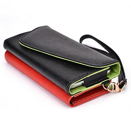 Kroo d'embrayage portefeuille avec dragonne et sangle bandoulière pour Lenovo s856 Magenta and Yellow Noir/rouge