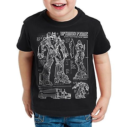 A.N.T. Optimus Prime T-Shirt für Kinder blaupause autobot, Farbe:Schwarz;Größe:152
