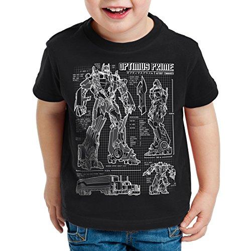 T-Shirt für Kinder blaupause autobot, Farbe:Schwarz;Größe:140 (Transformers Kinder)