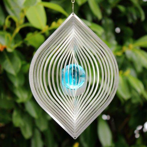 """Edelstahl Windspiel """"BLATT"""" mit 35 mm Türkiser Glaskugelaus echtem Farbglas - Wetterfest-"""