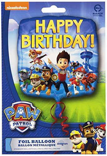 Amscan International Standard Vierkant-Paw Patrol Happy Birthday Ballon