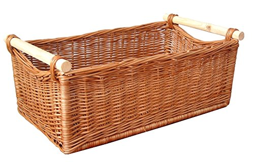Chimenea de madera, cesta de madera de sauce, 63 x 37, H...