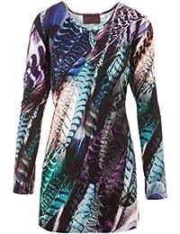 5ea965f7142b Sempre piu Langarmshirt Damen Shirt Longsleeve Blau Grün All-Over-Print  Vogel…