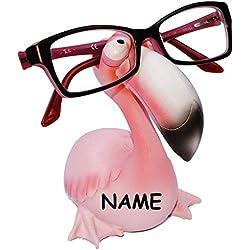 """"""" Tiere aus dem Zoo """" - Brillenhalter - incl. Name - Größe universal - für Kinder & Erwachsene / stabil aus Kunstharz - Brillenhalterung - für Sonnenbrille Lesebrille - Brillenablage - lustiger Brillenständer / Schildkröte Flamingo Krebs Hai Fisch Garnele"""