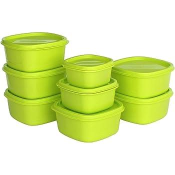 Princeware Plastic Storage Container Set, 8-Pieces, Green