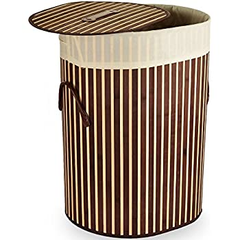 Panier corbeille à linge en bambou - 100L - Oval - Brun foncé - rangement vetements salle de bain
